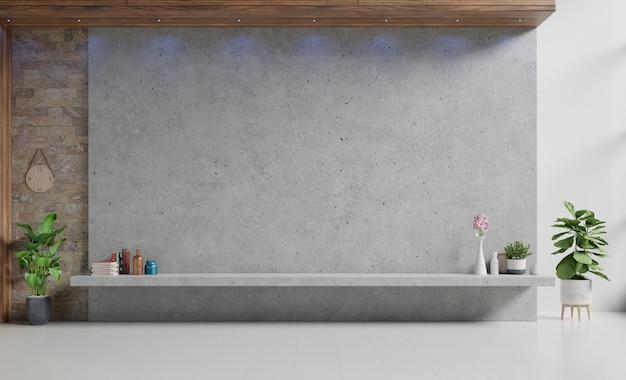 Tevê da cremalheira do almofariz com a parede da tela do cimento na parede na sala de visitas moderna. renderização em 3d