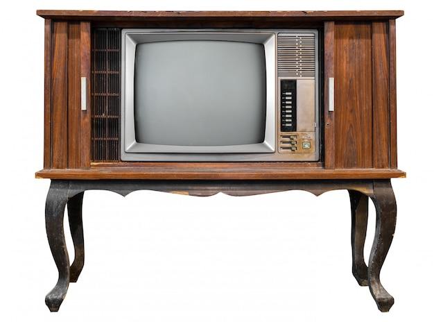 Tevê do vintage - televisão antiga da caixa de madeira isolada no branco com o trajeto de grampeamento para o objeto.