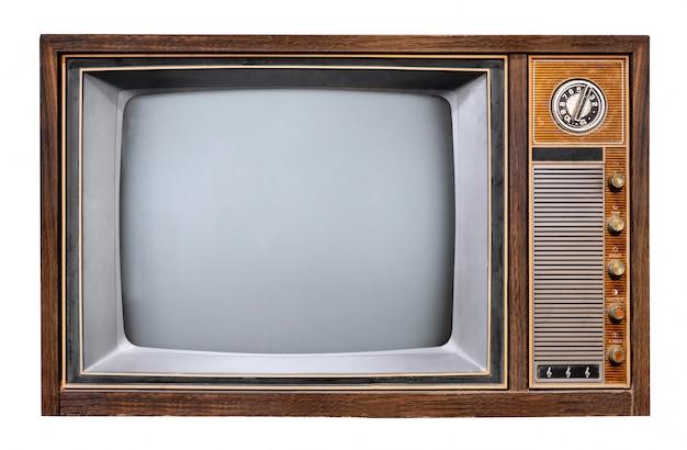 Tevê do vintage - televisão antiga da caixa de madeira.