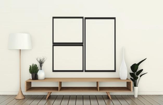 Tevê no armário de madeira na sala vazia moderna e na parede branca no estilo japonês da sala branca do assoalho. renderização em 3d