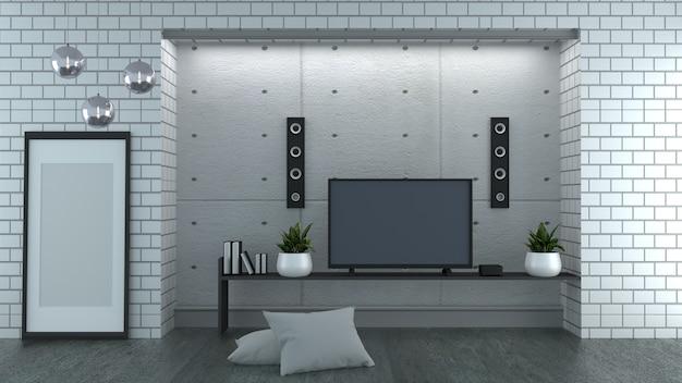 Tevê no fundo da parede de tijolo branco do estilo do sótão. renderização em 3d