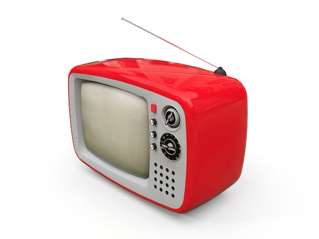 Tevê vermelha velha bonito com antena em um fundo branco. ilustração 3d