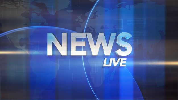 Text news live e gráfico de notícias com linhas e formas circulares em estúdio, fundo abstrato. estilo de ilustração 3d elegante e luxuoso para modelo de notícias