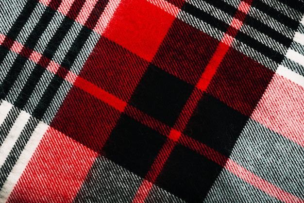Têxteis de lã quadriculada vermelha e preta
