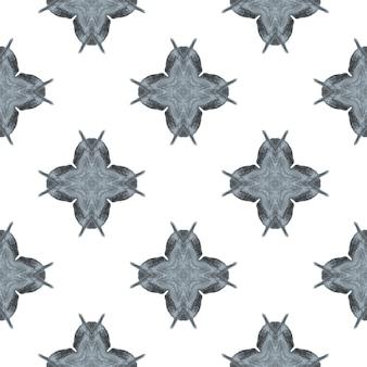 Têxtil pronto para banho com estampa extraordinária tecido envolvendo preto e branco perfeito boho chic design medalhão em aquarela medalhão de borda sem costura padrão sem emenda