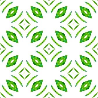 Têxtil pronto para impressão a fresco, tecido de biquíni, papel de parede, embrulho. projeto do verão chique do boho bonito verde. aquarela ikat repetindo a borda da telha. ikat repetindo design de trajes de banho.