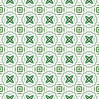 Têxtil pronto para impressão deslumbrante, tecido de biquíni, papel de parede, embrulho. projeto chique do verão do boho em êxtase verde. fronteira sem emenda de mosaico verde desenhada de mão. padrão sem emenda em mosaico.
