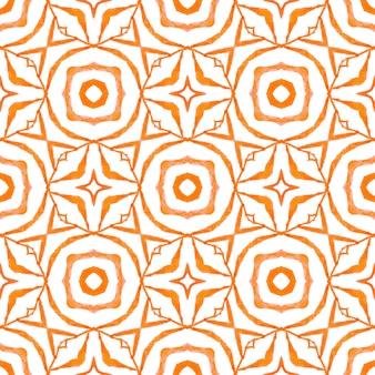 Têxtil pronto para impressão encantadora, tecido de biquíni, papel de parede, embrulho. projeto chique do verão do boho lindo laranja. design desenhado à mão arabesco. borda desenhada da mão árabe oriental.