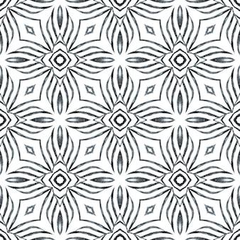 Têxtil pronto para impressão, tecido de biquíni, papel de parede, embrulho. design de verão chique boho opressor preto e branco. fundo aquarela com azulejos. borda de aquarela com azulejos de pintados à mão.