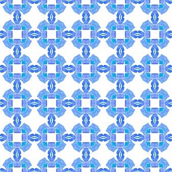 Têxtil pronto para impressão, tecido de biquíni, papel de parede, embrulho. projeto chique do verão do boho digno de nota azul. design desenhado à mão arabesco. borda desenhada da mão árabe oriental.