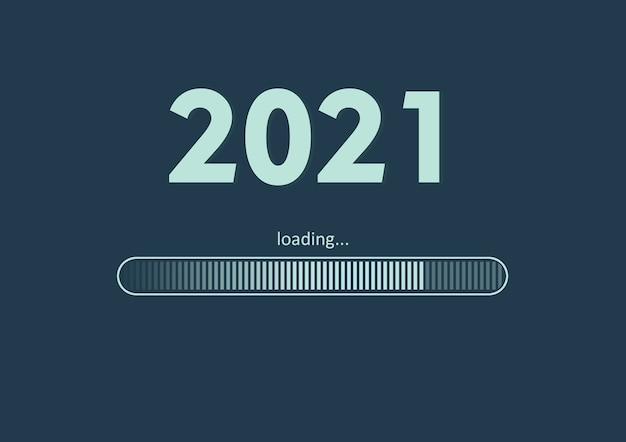 Texto - 2021 carregando e barra de carregamento no verde do mar