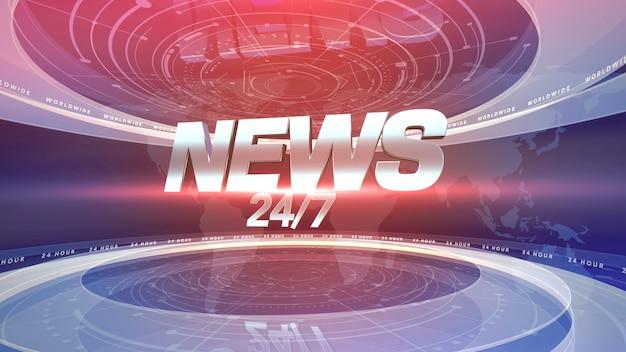 Texto 24 notícias e notícias gráficas com linhas e formas circulares em estúdio, fundo abstrato. estilo de ilustração 3d elegante e luxuoso para modelo de notícias
