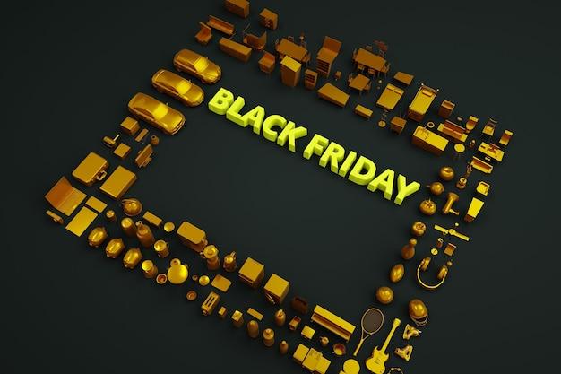 Texto 3d black friday em um fundo preto. texto amarelo black friday. banner de publicidade isométrica. muitas coisas e produtos ao redor. marketing e publicidade, pôster
