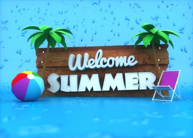 Texto 3d branco na placa de madeira em elementos azuis e verão