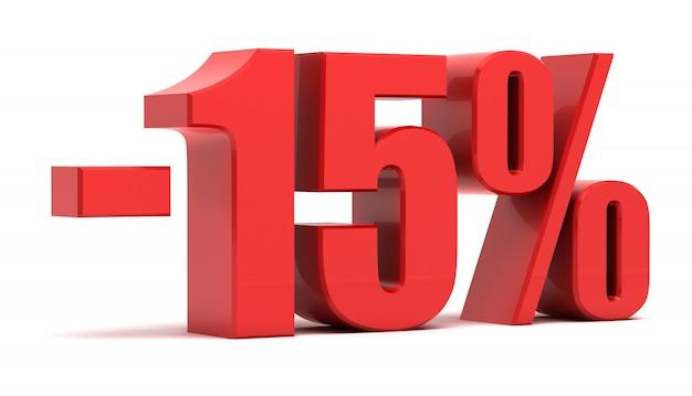 Texto 3d de desconto de 15%