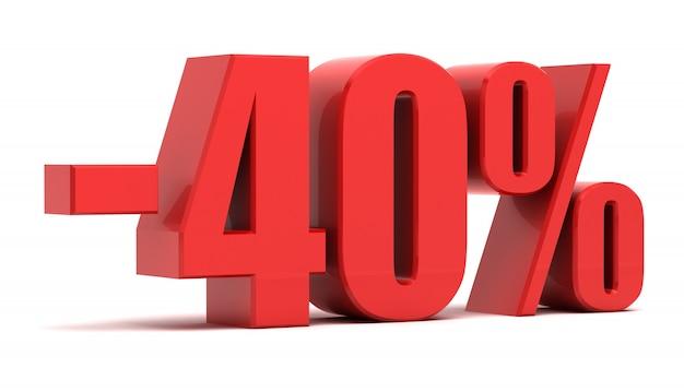 Texto 3d de desconto de 40%