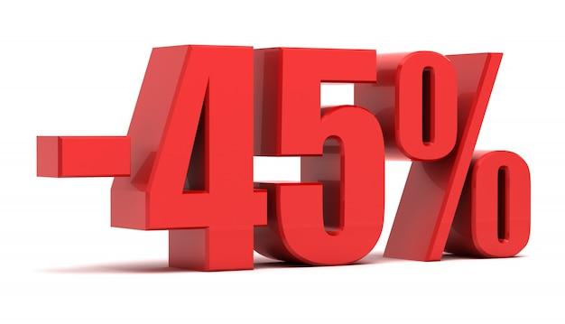Texto 3d de desconto de 45%