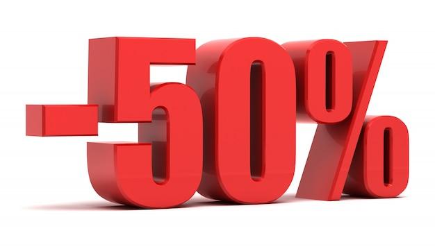 Texto 3d de desconto de 50%