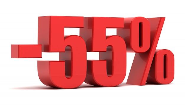 Texto 3d de desconto de 55%
