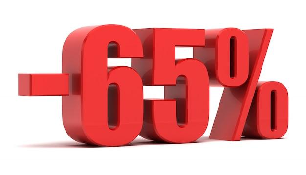 Texto 3d de desconto de 65%