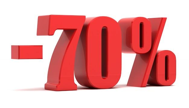 Texto 3d de desconto de 70%