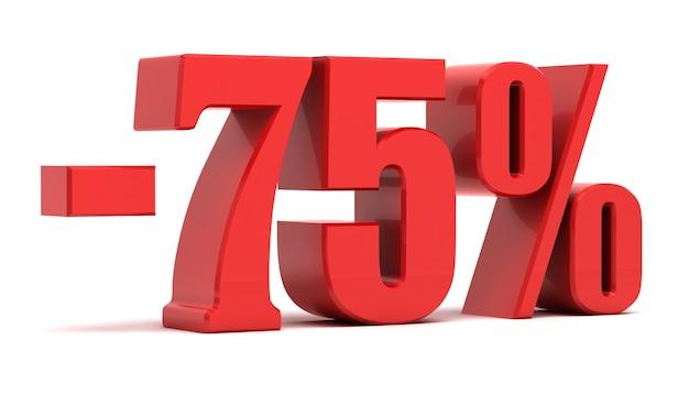 Texto 3d de desconto de 75%