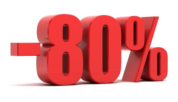 Texto 3d de desconto de 80%