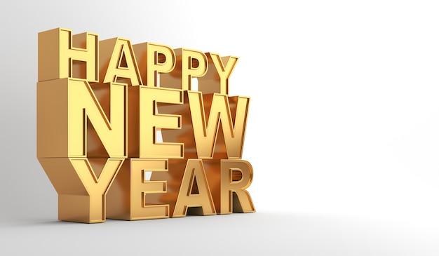 Texto 3d ouro feliz ano novo em branco