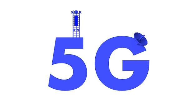 Texto 5g com antenas de comunicação. ilustração 3d. redes fundo.