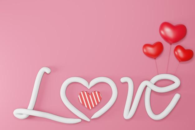 Texto amor corações românticos coloridos realistas dos namorados em vermelho ou rosa