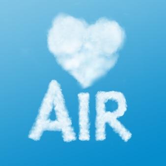 Texto ar e coração feitos de nuvem no céu azul