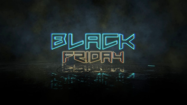 Texto black friday e fundo cyberpunk com luzes de néon. estilo de ilustração 3d moderno e futurista para o tema cyberpunk e cinematográfico