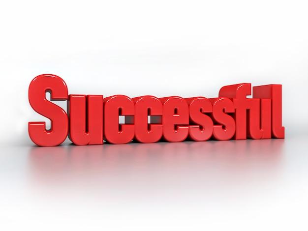 Texto branco 3d motivacional bem sucedido em branco