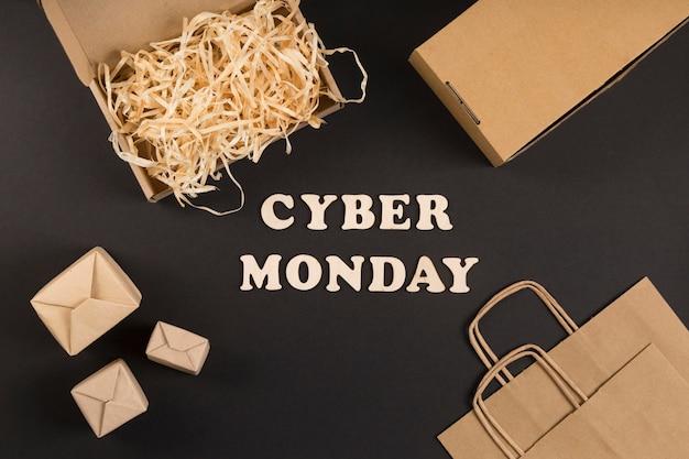 Texto cibernético de segunda-feira plana
