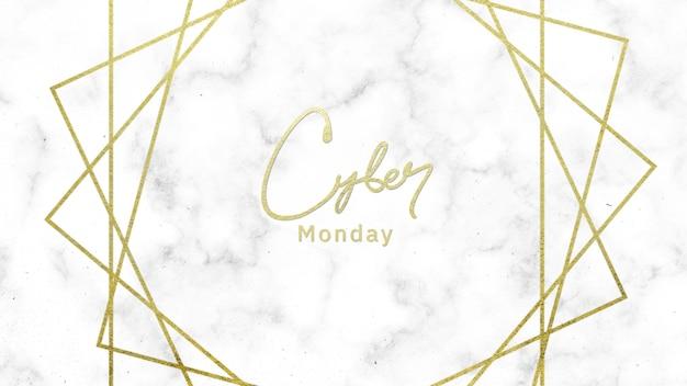 Texto cyber segunda-feira sobre fundo branco moda e minimalismo com linhas geométricas de ouro. ilustração 3d elegante e luxuosa para negócios e modelo corporativo
