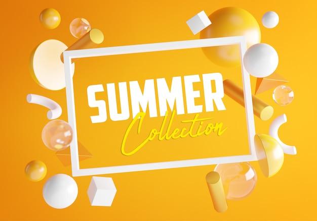 Texto da coleção de verão dentro do quadro branco retangular na parede laranja. objeto de renderização 3d mínimo elegante