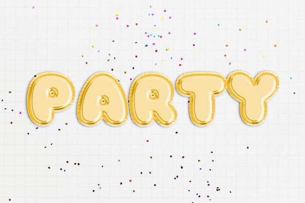 Texto da festa em fonte de balão