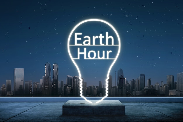Texto da hora da terra dentro da lâmpada de luzes