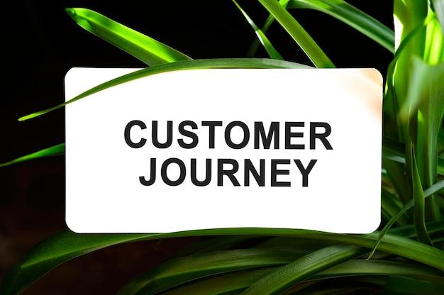 Texto da jornada do cliente em branco cercado por folhas verdes
