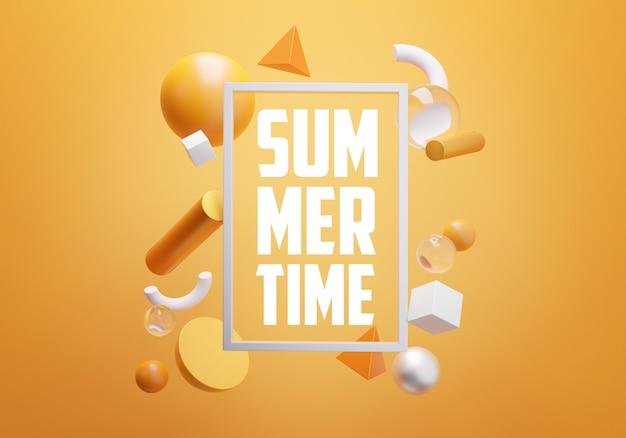 Texto das horas de verão dentro do quadro branco retangular na parede alaranjada. objeto de renderização 3d mínimo elegante
