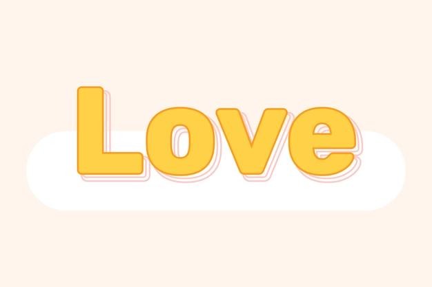 Texto de amor em fonte em camadas