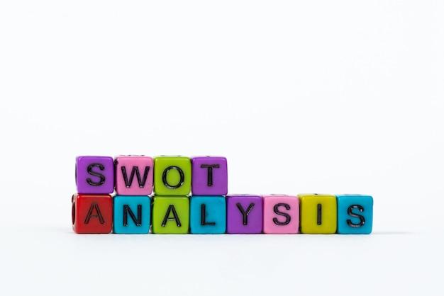 Texto de análise swot feito de contas coloridas ou grânulo de carta