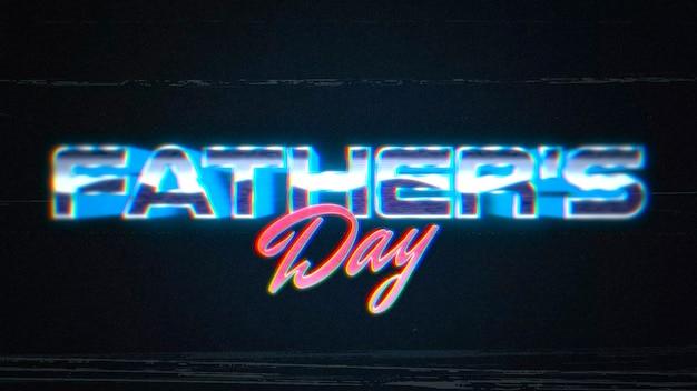 Texto de animação dia dos pais e linhas de ruído na galáxia, fundo de férias retrô. estilo de ilustração 3d dinâmico para modelo de clube e entretenimento