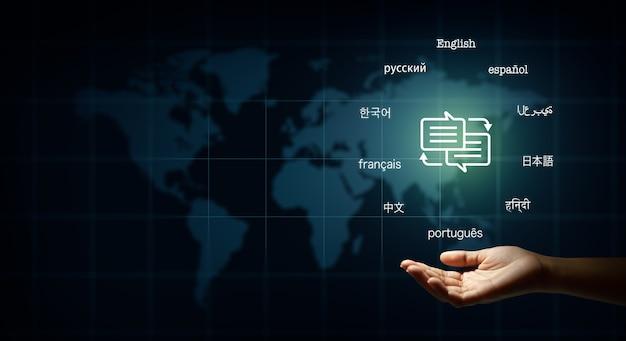 Texto de bolha do discurso em muitas línguas importantes tradutor e conceito de educação de línguas