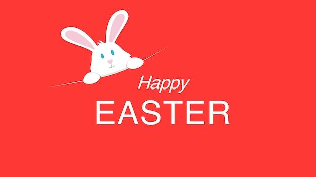 Texto de closeup feliz páscoa e coelho sobre fundo vermelho. modelo de estilo dinâmico luxuoso e elegante para férias