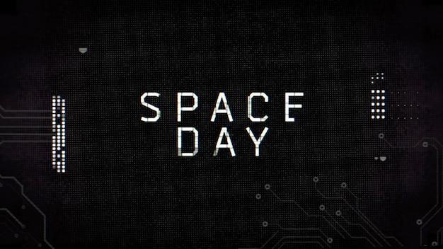 Texto de closeup para o dia do espaço no painel futurista de néon com formas de computador, fundo abstrato