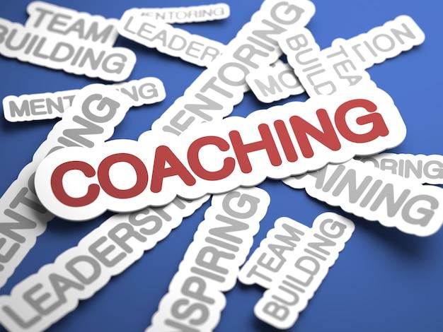 Texto de coaching com foco seletivo. renderização 3d.