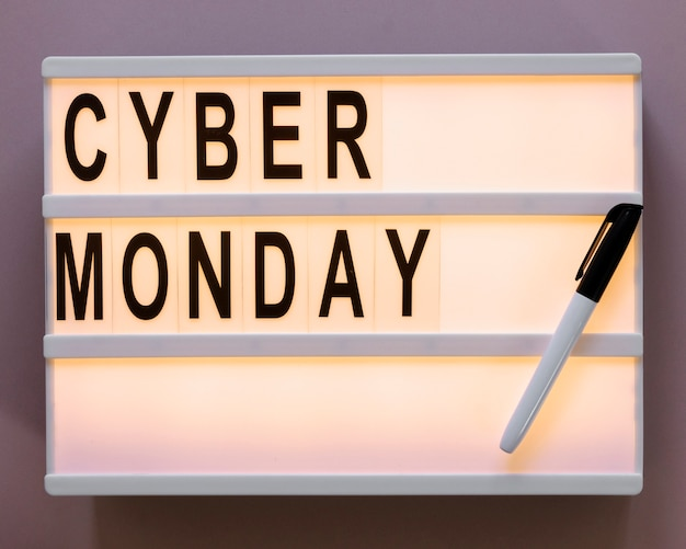 Texto de cyber segunda-feira na caixa de luz