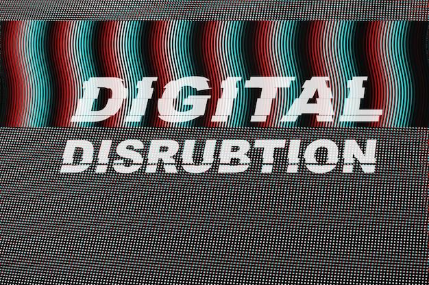 Texto de disrubtion digital na falha do ecrã led.