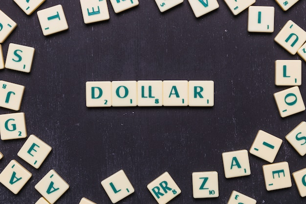 Texto de dólar organizado em uma linha sobre fundo preto